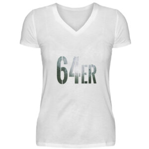 64er Logoprint Color - V-Neck Damenshirt-3